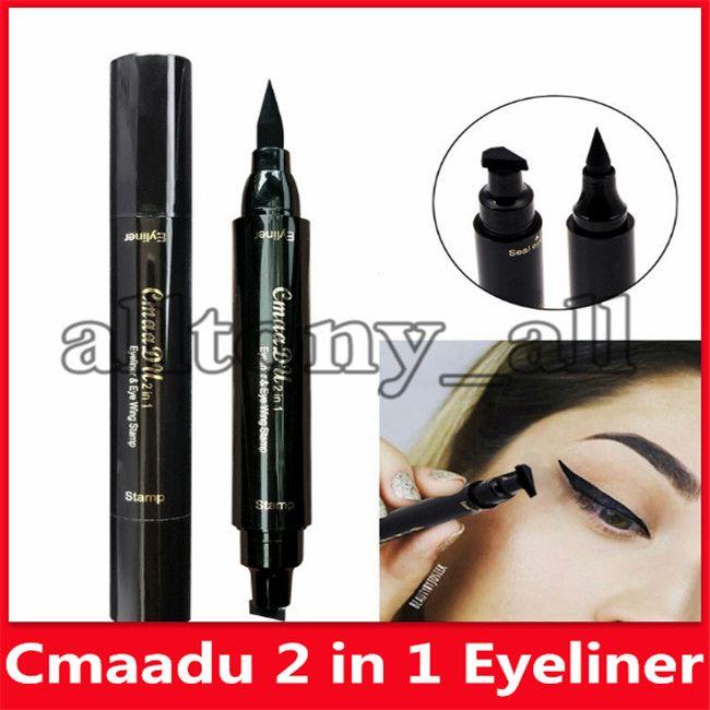 CMAADU double tête noire Joint liquide Crayon Eyeliner Maquillage séchage rapide Doublure Wing Waterproof Stamp Pen Cat Eyes Make Up Outils
