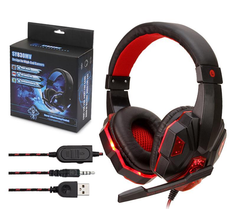 3.5MM المقابس USB LED سلك سماعة سماعات الرأس السلكية مع سماعة الميكروفون لجهاز سوني بلاي ستيشن PS4 مع حزمة البيع بالتجزئة