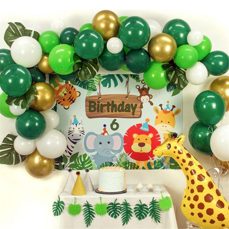 Baby Shower Safari Nino Decoracion.Jungle Decoration Balloons Dinosaur Party Baby Shower 1st Birthday Party Decorations Kids Boy Girl Jungle Party Banner Supplies Birthday Wall