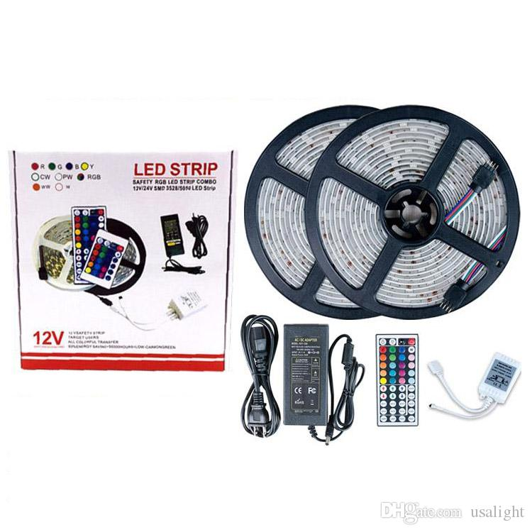 Wasserdichte Streifen IP65 IP20 5M 300 LEDs 10m 600LED SMD 5050 RGB-Leuchten LED-Streifen 60 LEDs 44Key IR-Fernbedienung 12V