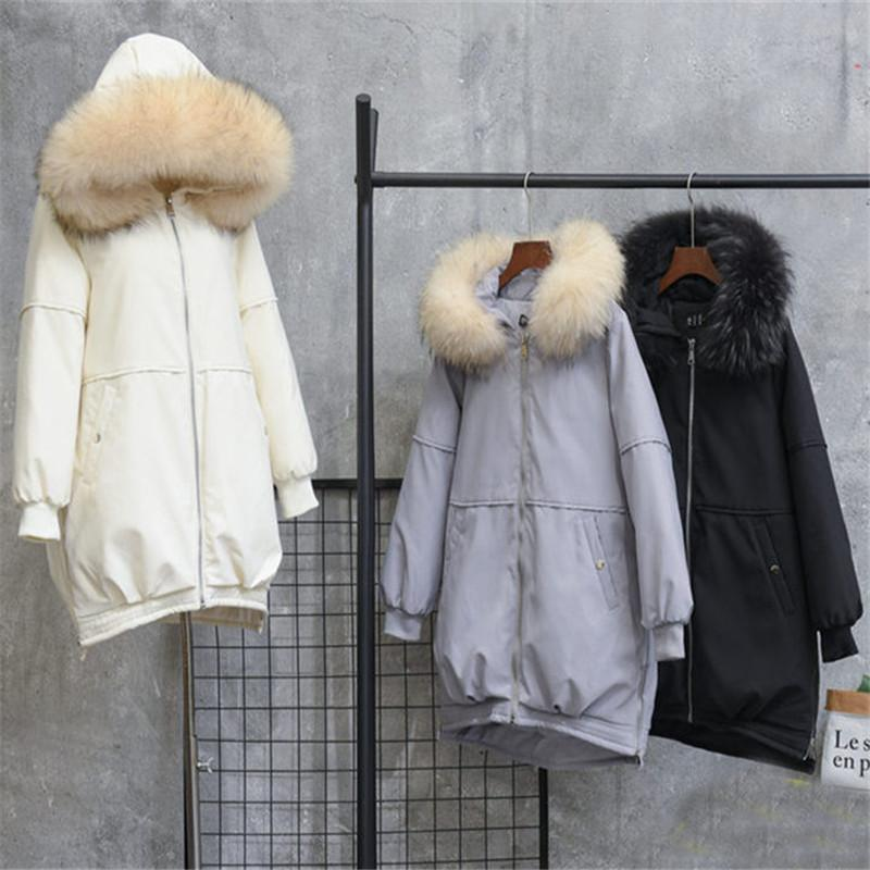 Autumn Winter Women Hooded Down Jacket Warm Thick White Duck Down Coat Padded Female Long Big Fur Collar Parka Plus Size AB1570