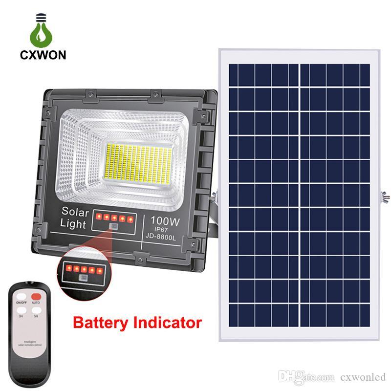 Holofote movido a energia solar atualizado 100W 200W 300W Spotlight solar à prova d 'água jardim de alumínio rua ao ar livre lâmpada de parede solar com controle remoto