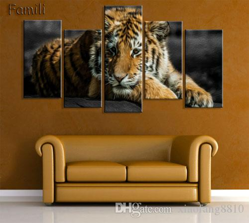 5Panels Modern Printed Tiger Canvas Painting Cuadros Picture Animal Landscape Oil Paintings For Living Room (No Frame)