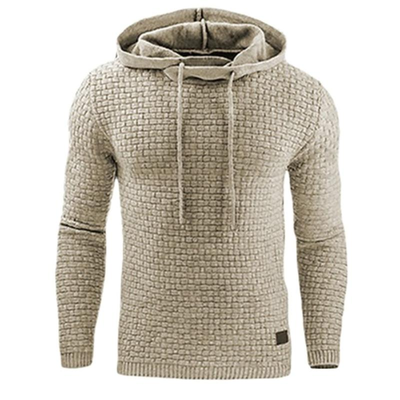 Male Sweatshirt Solid Quilted Jacquard Fashion Hoodie Slim Fit Casual Sweatshirt