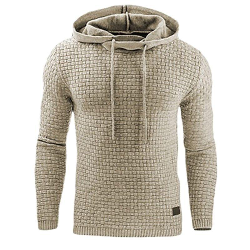 Masculino sudadera sólido acolchado jacquard con capucha de moda adelgazan la camiseta ocasional