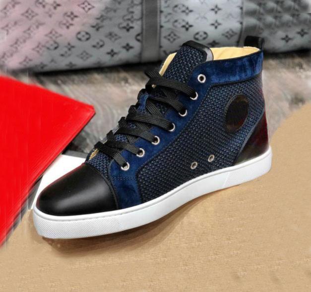 عالية الجودة رجل إمرأة حذاء أحمر حذاء رياضة أسفل جلد طبيعي الأزرق المخملية شبكة صيد السمك بريق المدربين الأحذية 35-47 الخصم