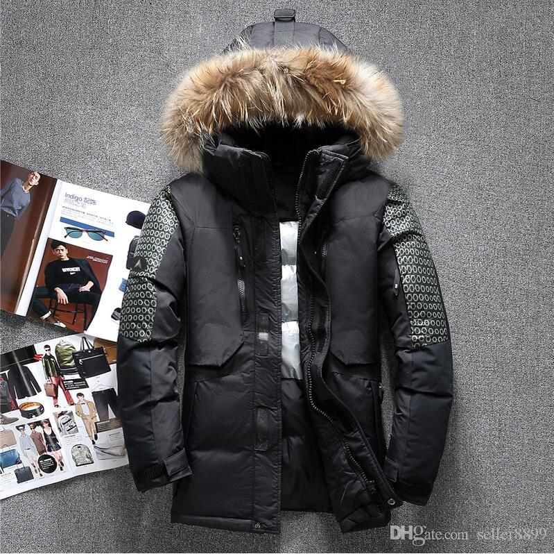ceket aşağı Moda Sıcak satış Yeni Tasarım Erkekler Aşağı Ceket Erkekler Kış Palto Açık Coats Giyim gerçek rakun kürk yaka kaput erkekler