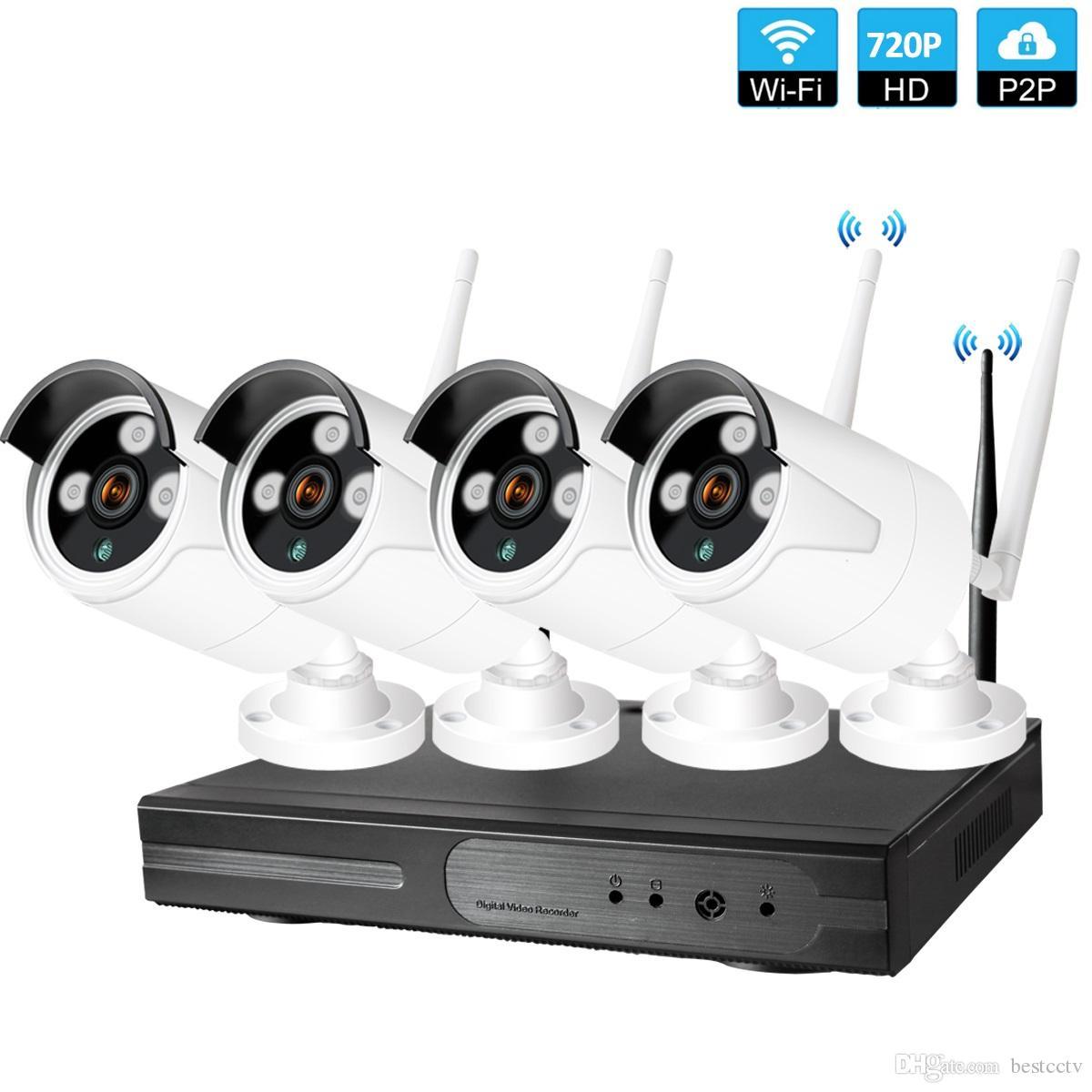 nivel de Inicio Sistema de CCTV 4 canales inalámbricos 720P NVR 1.0MP IR exterior P2P del IP de Wifi de mal tiempo 66 de la cámara de seguridad CCTV Sistema de Vigilancia Kit