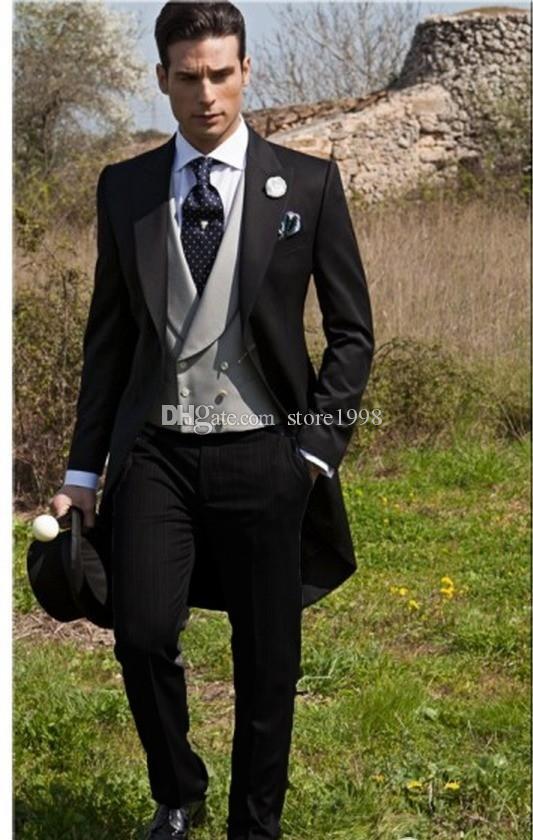 Sabah Stil Groomsmen Peak Yaka Damat Smokin Siyah Erkek Takım Elbise Düğün / Balo / Akşam Yemeği Best Man Blazer (Ceket + Pantolon + Kravat + Yelek) B452