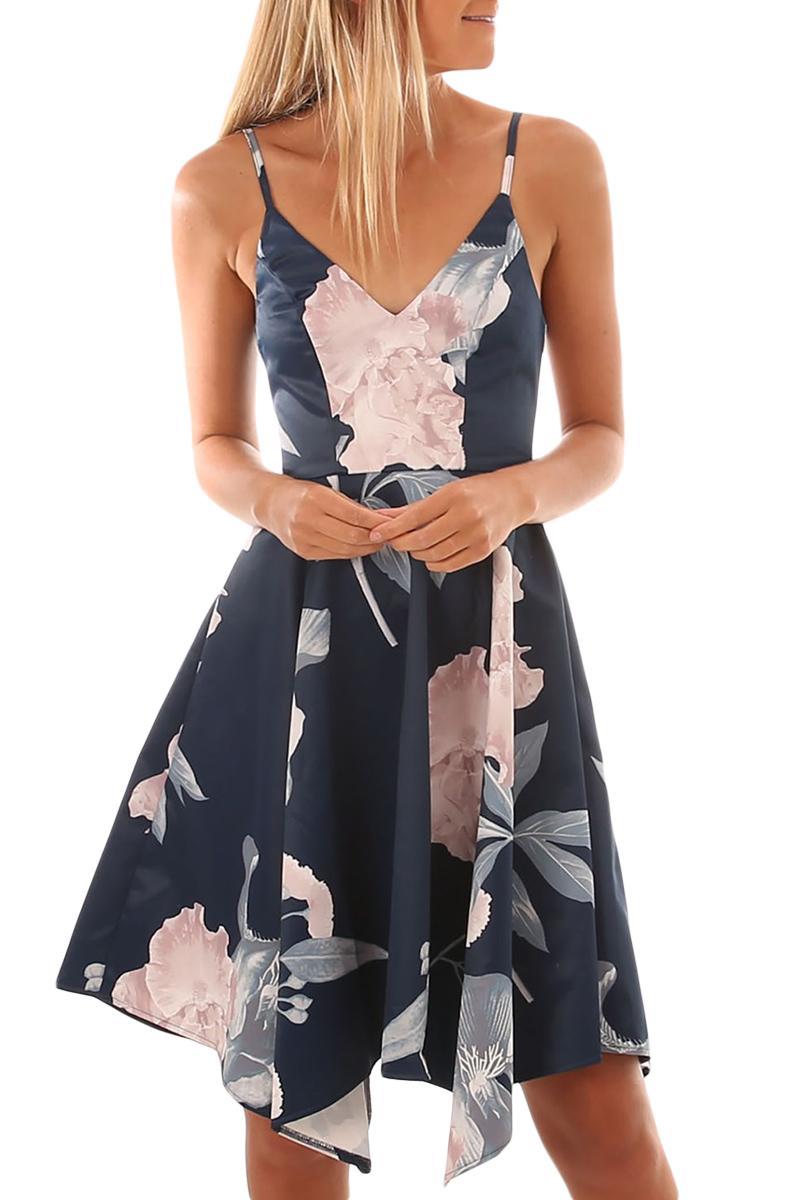 Dear lover 2020 Бесплатная доставка Женская одежда в наличии оптом темно-синий цветочный принт асимметричный подол Sway Dress