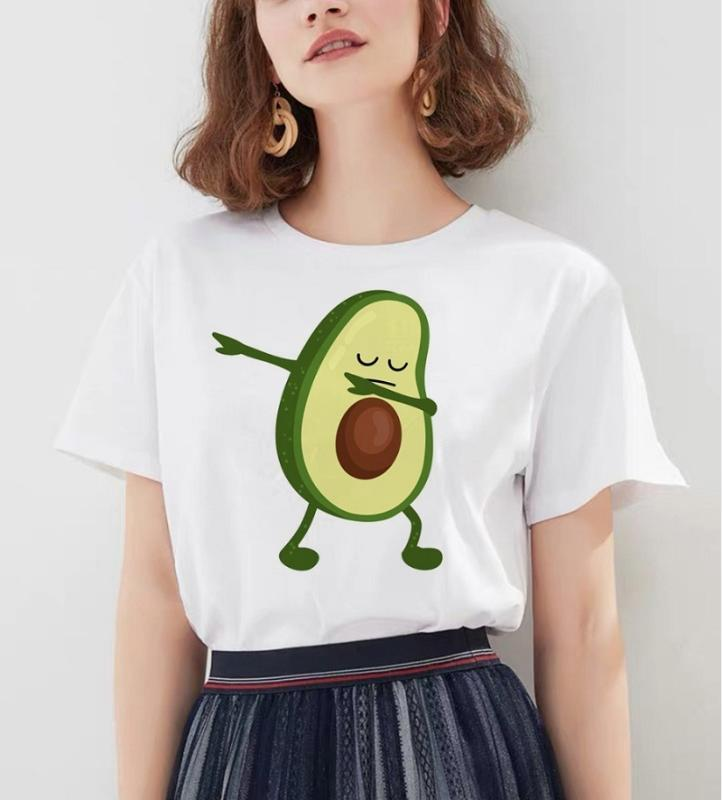 Kawaii Cartoon avocat à manches courtes T-shirt pour femmes Vogue T-shirt Harajuku Vêtements Graphique Casual Hauts pour femmes Tee