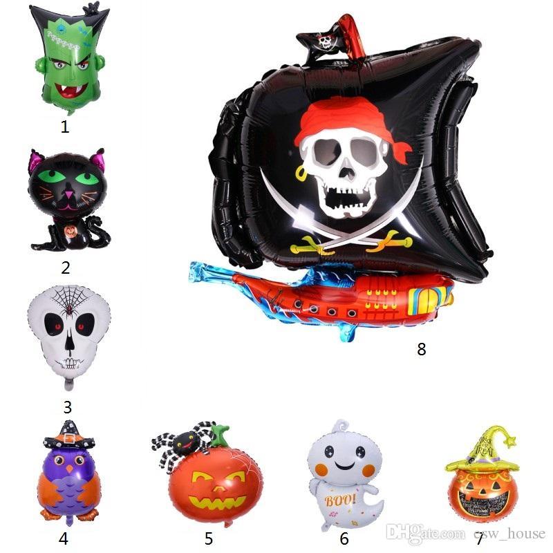 Fantasma Balões Balões do partido alumínio Halloween Decor DIY Halloween Pumpkin Bat Pirate Ghost Balão de Hélio