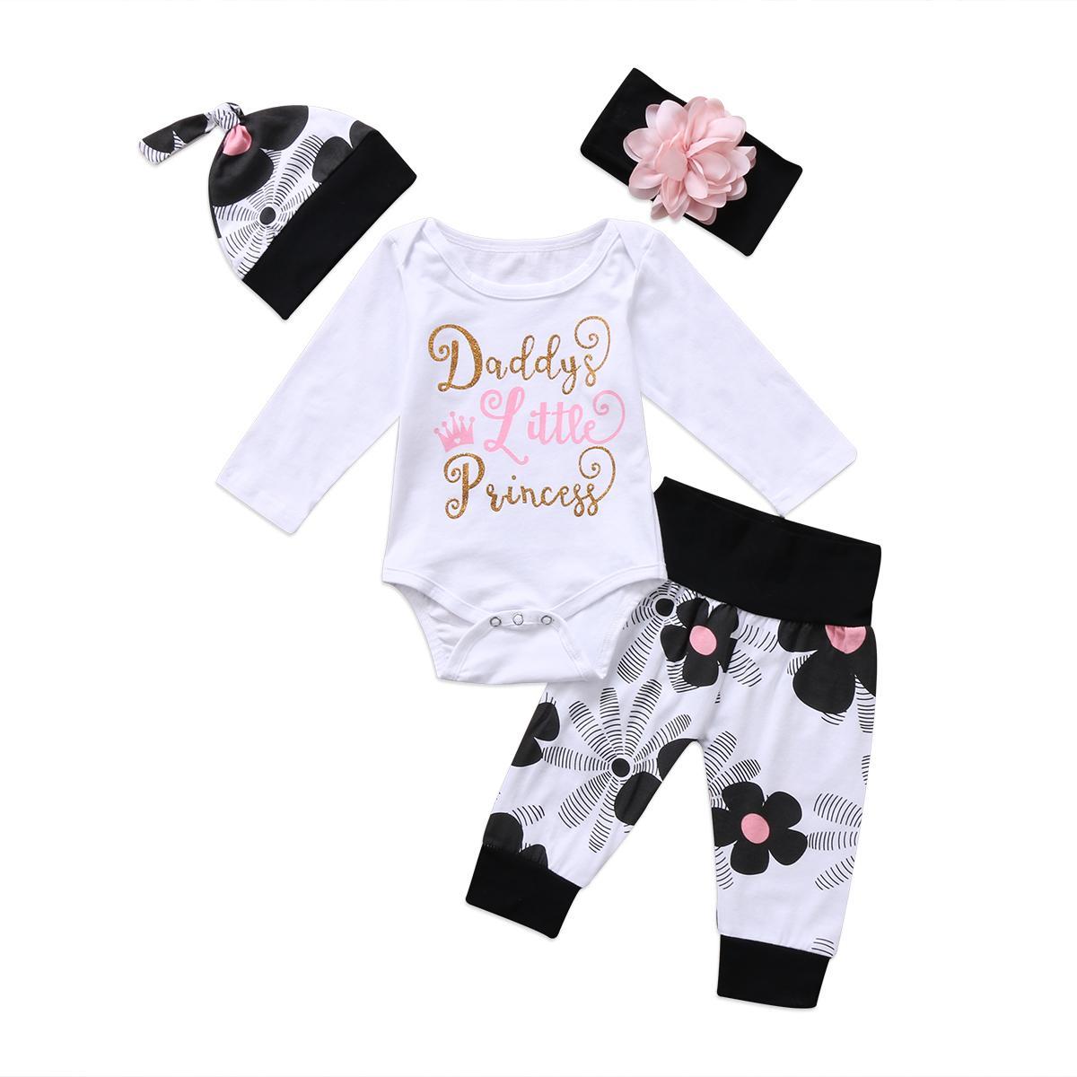 ABD STOK Bebek Kız Giyim Yenidoğan Bebek Kız Giyim Çiçek Tulum Uzun Kollu Harf bodysuit + Kafa Pantolon Kıyafet