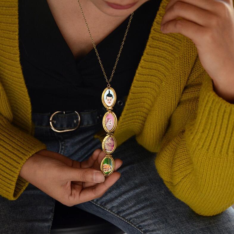Мода женщины мужчины мода 18K золото ожерелье шаблон медальон 4 слота фоторамка кулон цепи ожерелье Мемориал ювелирные изделия подарки