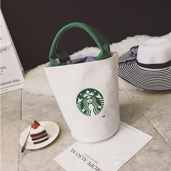 Wholesale-Women Star bucks Cute Shopping Handbag Ladies Fashion Brand Designers Lunch Bag Free Shipping High Quality Canvas Tote
