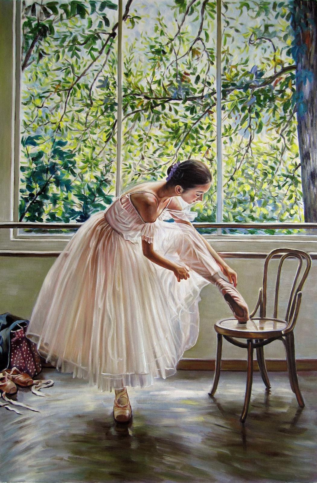 Ballerina Hauptdekor handgemaltes HD-Druck-Ölgemälde auf Leinwand-Wand-Kunst-große Bilder 191124