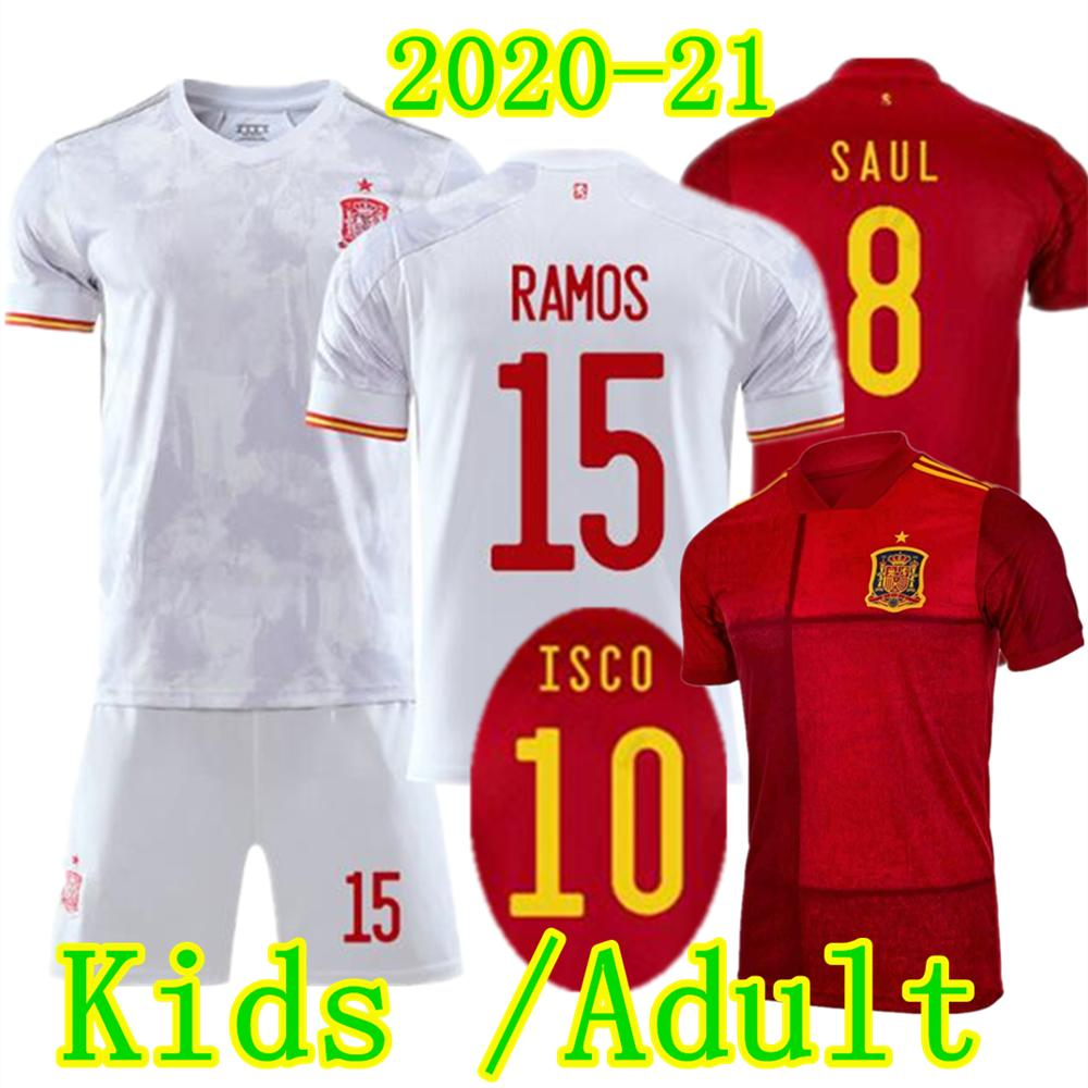 Crianças Adulto RAMOS Espanha Soccer Jersey Set 2020 2021 ASENSIO MORATA Homens ISCO Criança Kit SILVA PIQUE RODRIGO SERGIO SAUL THIAGO Football Uniform