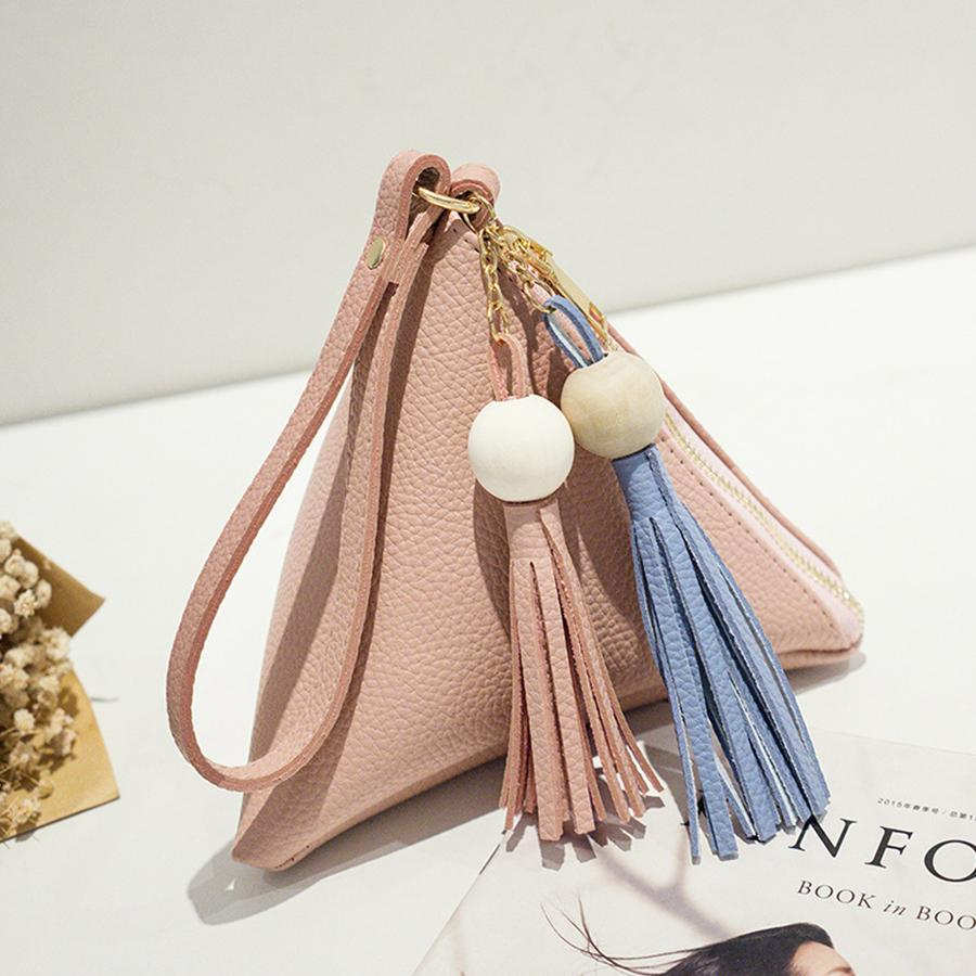 عارضة بو الجلود البسيطة المثلث حقائب اليد الأزياء الإبداعية الشريط الشرابة المحفظة الفاصل السيدات المساء المحفظة حقيبة اليد أنثى