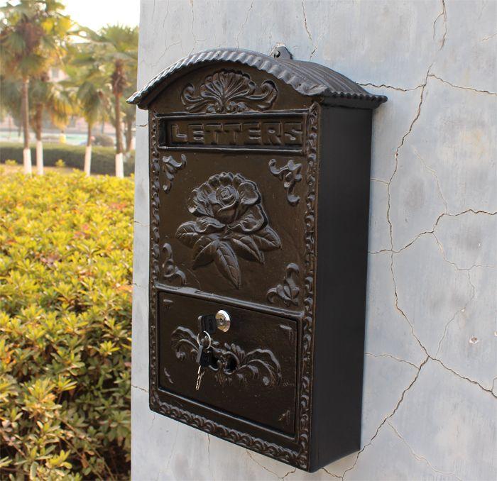Aluminio fundido Buzón de flores Estampado en relieve Recorte Decorativo Negro Metal de exterior Jardín del hogar Correo de la pared Post Cartas Buzón de correos Vintage