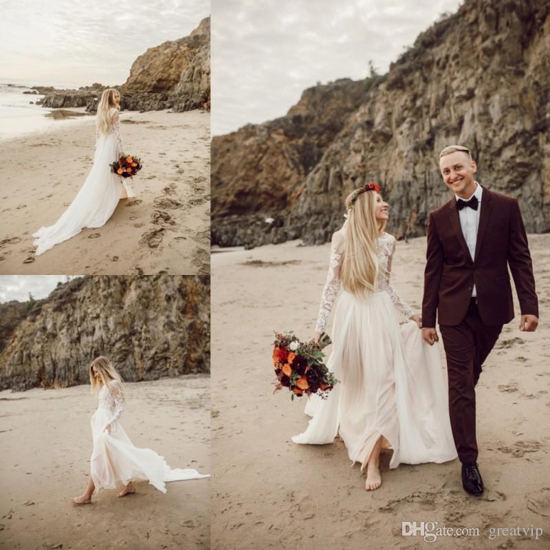 2019 Дешевые линия Свадебные платья кружева с длинным рукавом развертки поезд Свадебные платья плюс размер Robe De mariée