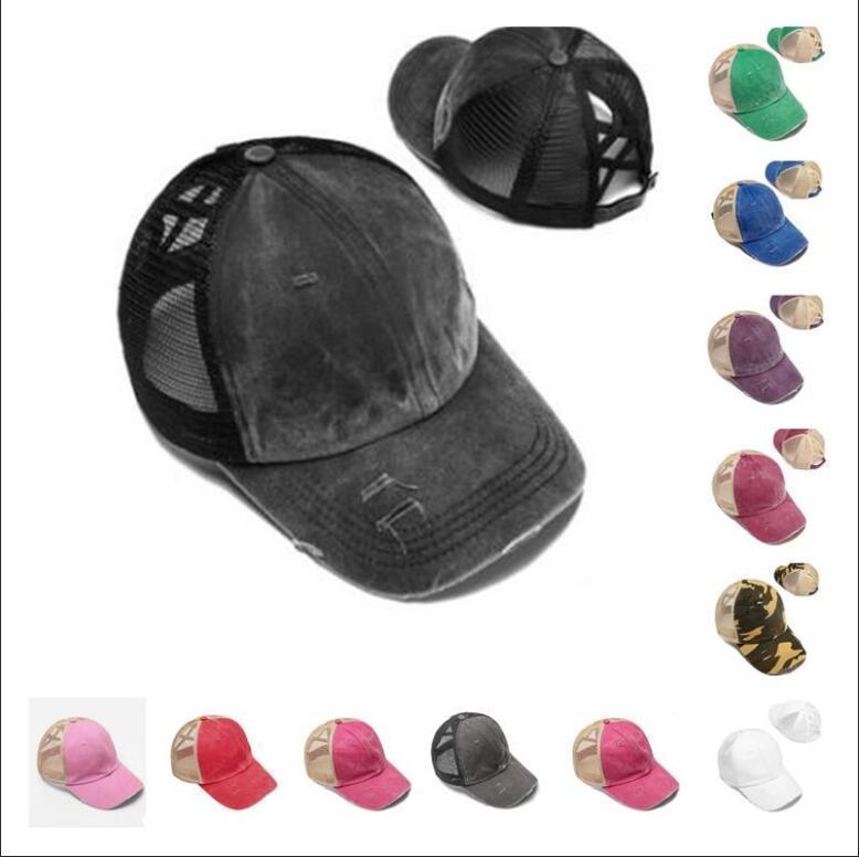 قبعات البيسبول ذيل حصان العليا فوضوي كعكة القبعة Ponycaps قابل للتعديل كاب البيسبول شبكة العودة في الهواء الطلق القبعة BBA10