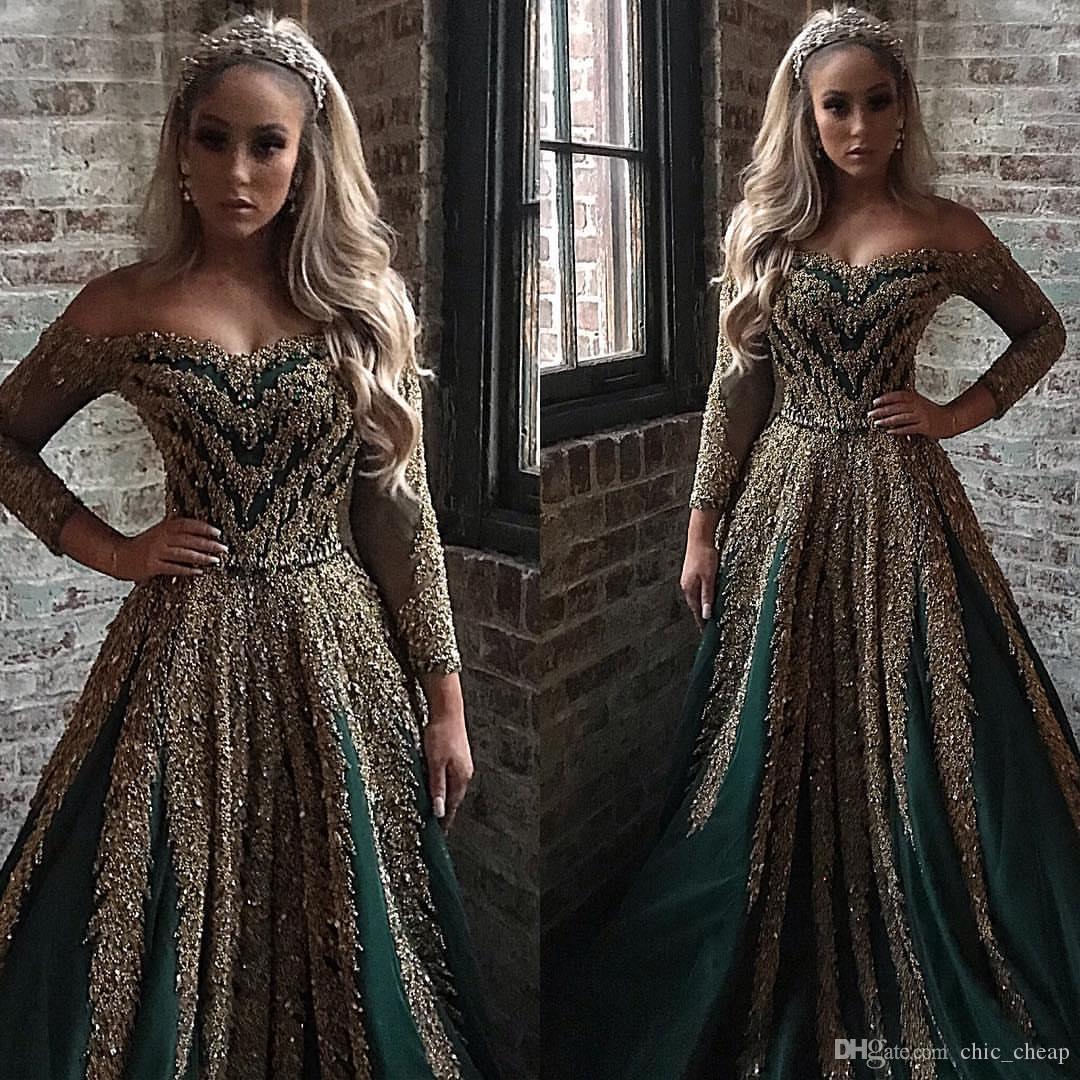 Aso Ebi 2019 Arabic Hunter Green Роскошные вечерние платья из бисера Блестки Блестящие платья для выпускного вечера Сексуальные вечерние платья для подружек невесты