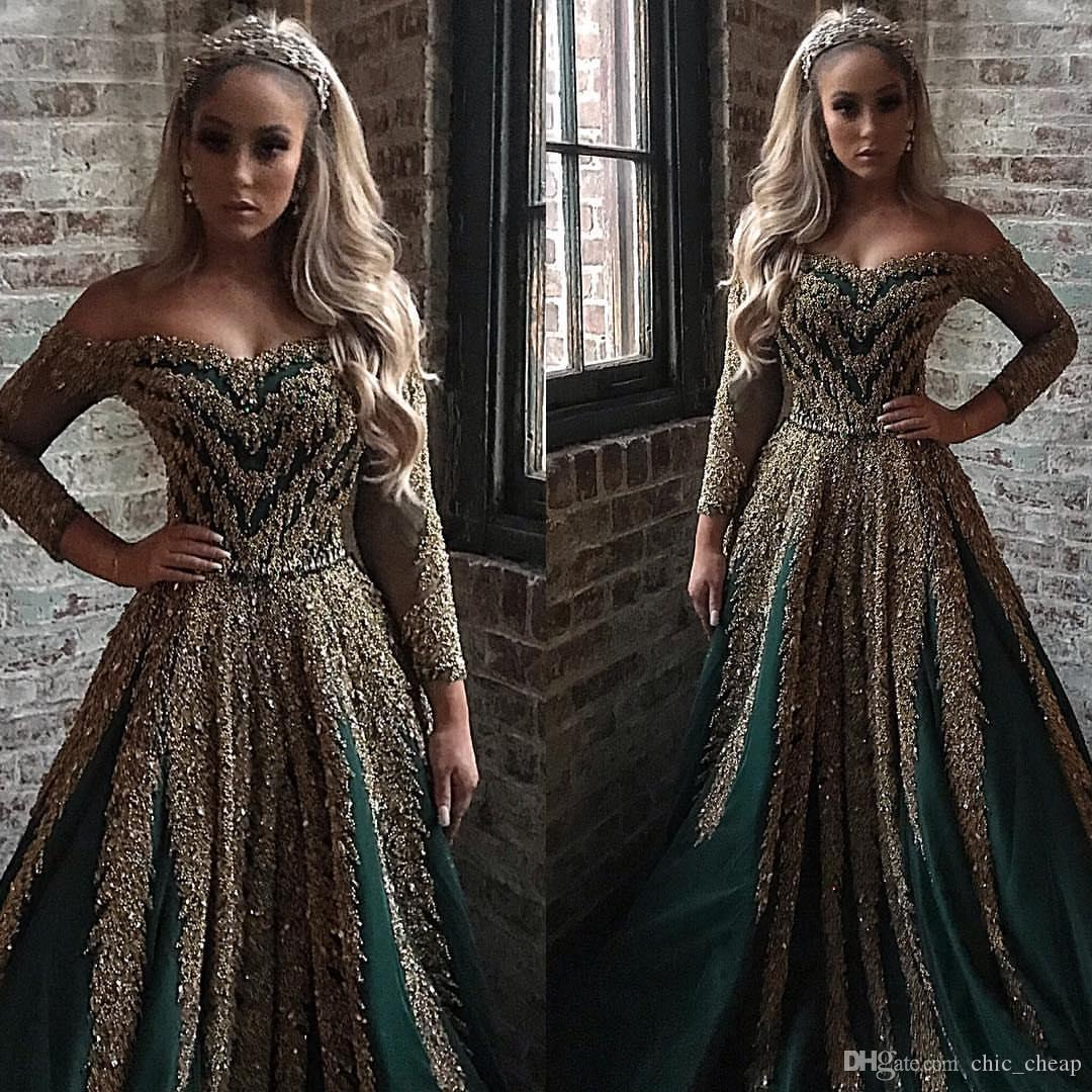 Aso Ebi 2019 Arabic Hunter Green Luxurious Evening Dresses Beaded Sequins Sparkly Prom Dresses Sexy Formal Party Bridesmaid Pageant Gowns