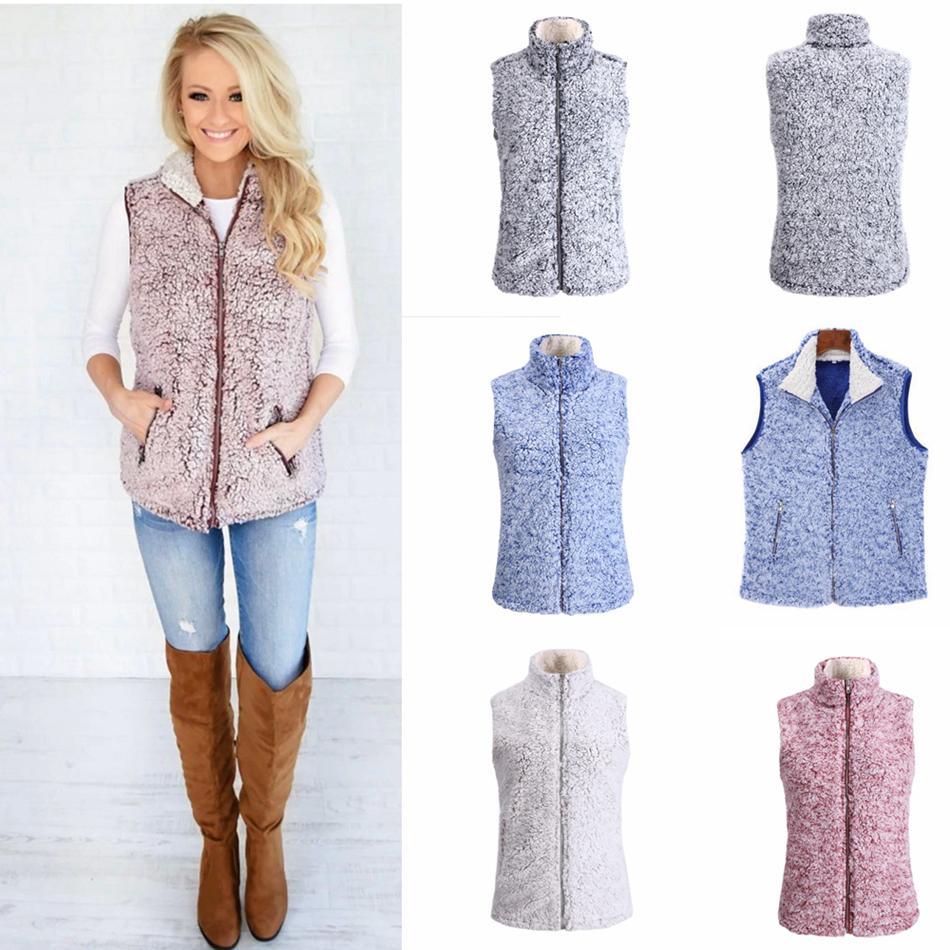 النساء شيربا سترة معطف الفتيات الشتاء الدافئة صدرية الصوف أكمام أبلى معطف خزان الرمز البريدي سترة سترات LJJA3560-13