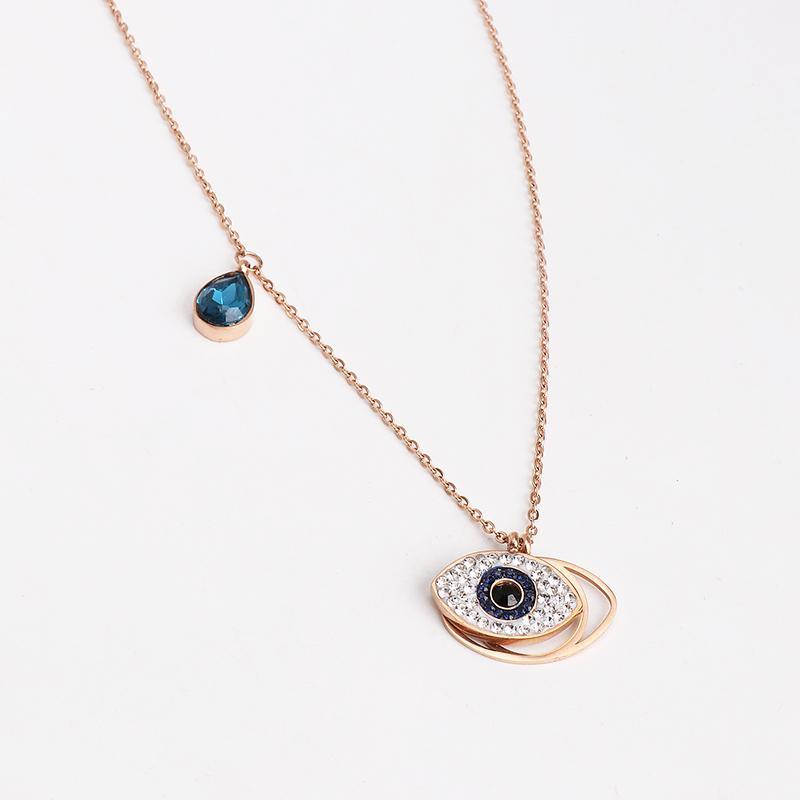 Pendentif Colliers Crystal Evil Eye Collier Femmes Gold Couleur Bijoux Pull Chaînes Partie pour Dame Cadeau