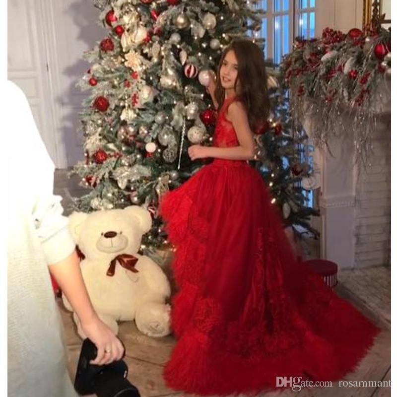 Increíble pluma para niños pequeños Paginet Vestidos de joya cuello apliquen alto flores bajo niña vestido con cuentas tul primero comunión vestidos de comunión
