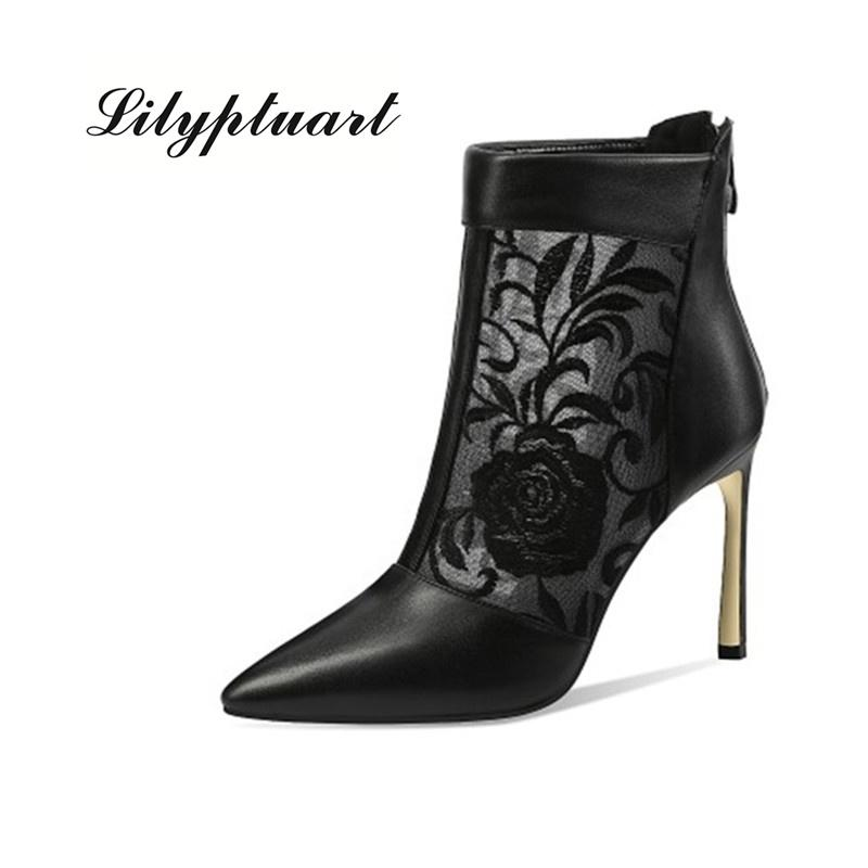 2020 ilkbahar Avrupa ve Amerikan tarzı stiletto topuklar moda deri kısa botlar kadın moda işlemeli sandaletler işaret