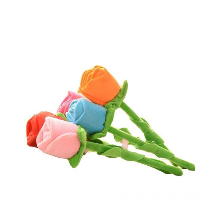 5pcs / lot 35cm bunte Karikatur Stoff Simulation Rose-Blumenstrauß-Blumen-Anlage Dekoriert Feiern füllte Plüsch-Tiere Plüschtiere