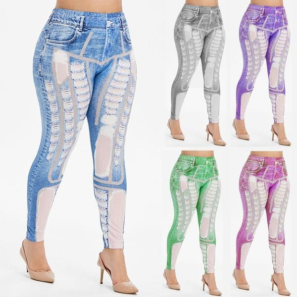 Feminino Casual Calças Lápis respirável Womens Designer Jeans Digital Imprimir Buraco Denim Trousers magro cor sólida