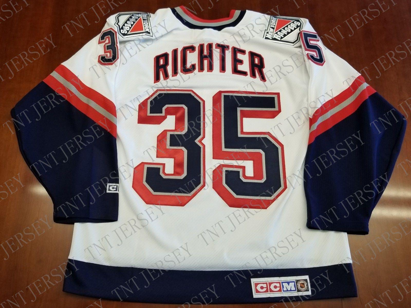 cb6caefd789 Cheap custom Mike Richter Vintage New York Rangers CCM Jersey Lady Liberty  Stitched Retro Hockey Jersey XS-5XL