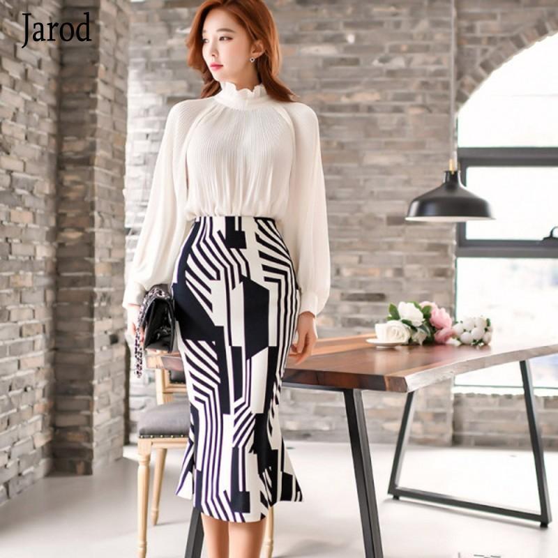 Coreano Negócios 2020 Mulheres Primavera manga lanterna branco chiffon blusa + Trabalho Bainha Bodycon Pencil Skirt 2 Piece Formal