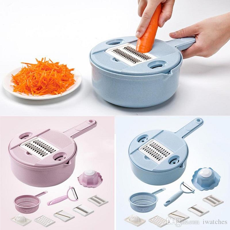 Multifunción máquina de cortar los suministros de cocina creativa 2 colores zanahoria patata cortador de verduras cortador de alimentos portátil envío libre