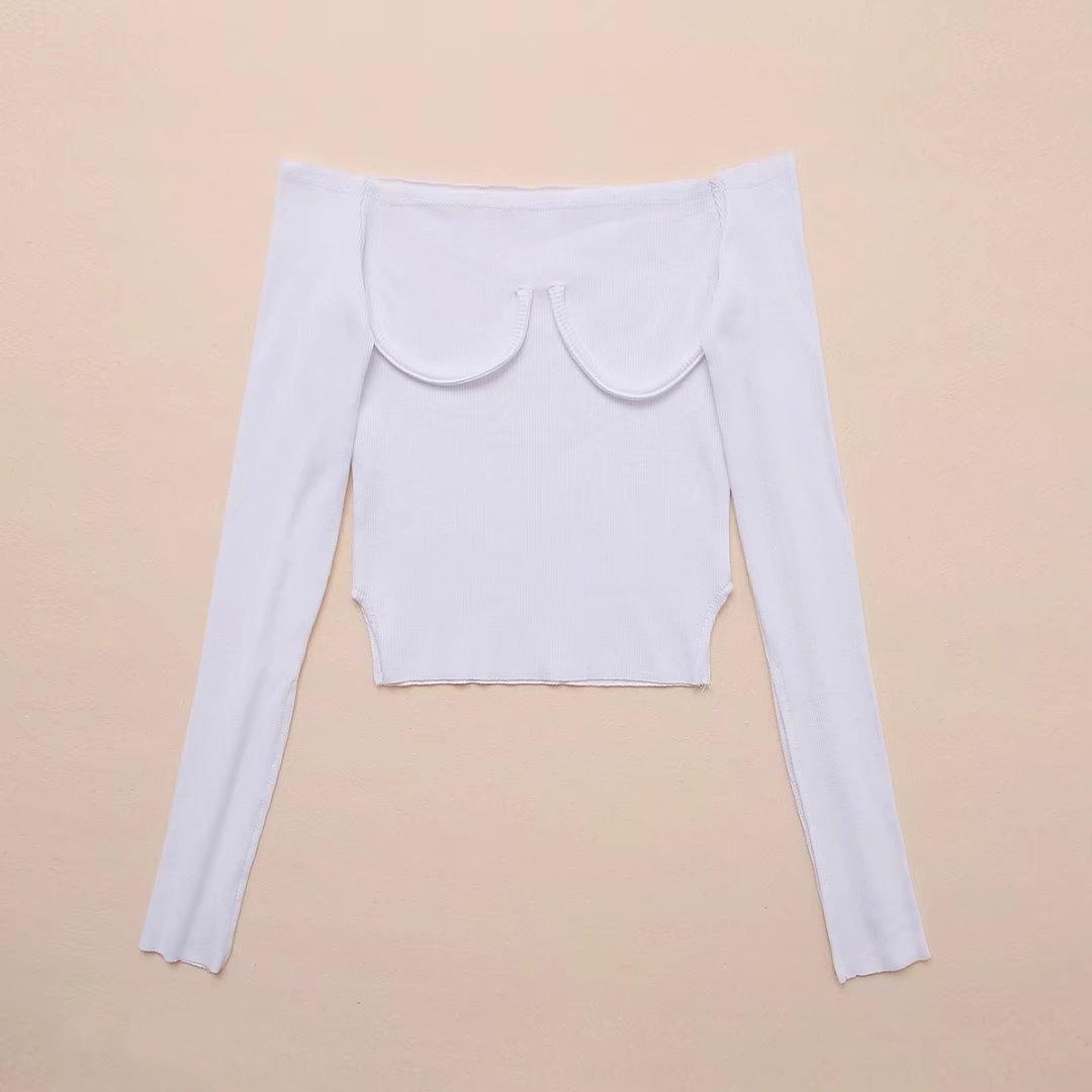 BziXr подходят ранней осенью новый корейский стиль тонкий длинный свитер грудь Crescent раскол высокой талии рукав короткий рукав 7077-17 свитер