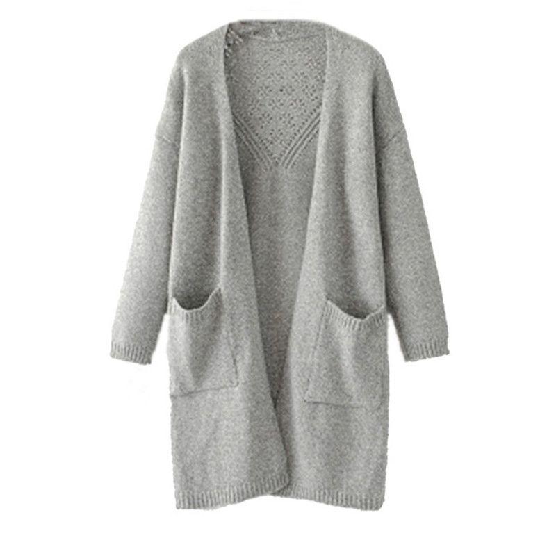 Escudo Mujer de invierno de manga larga delantera abierta Cardigans Jerseys de puente sólido con bolsillo Tops Abrigos Mujer Invierno 2019 A55