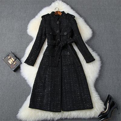 أزياء المرأة المصممين خريف وشتاء تويد الصوفية جاكيتات ومعاطف سيدة أنيقة كم طويل لؤلؤ فاخر مزيج من الصوف المعطف