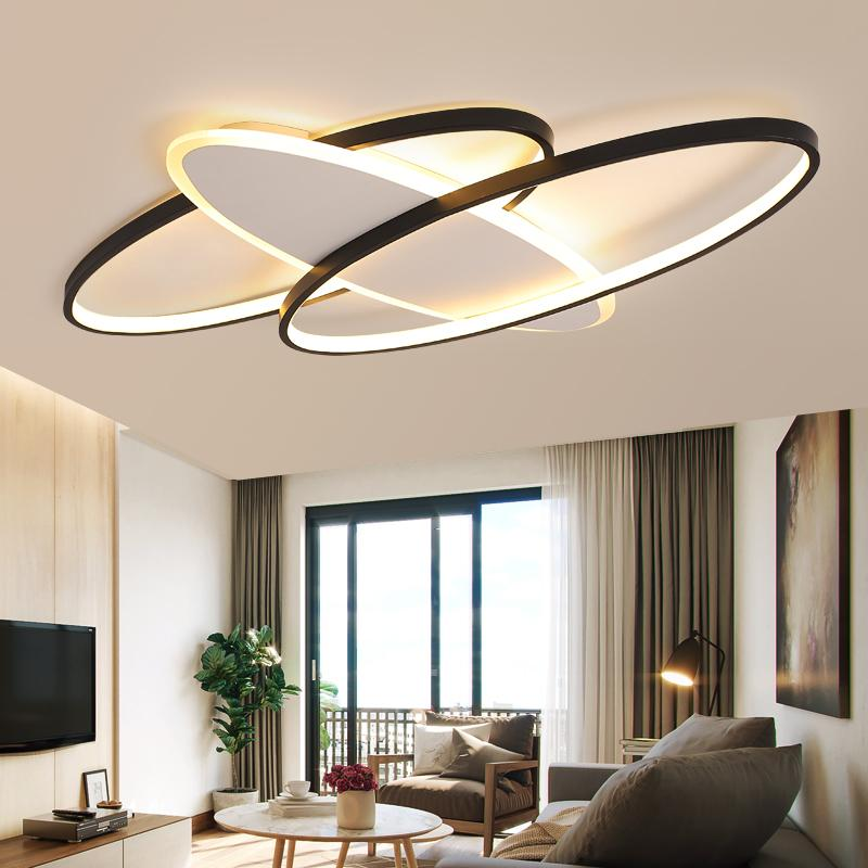 Современные возглавляемые люстры света гостинных квадратные круглые фары для спальни наверху освещение черной декоративных люстр лампы