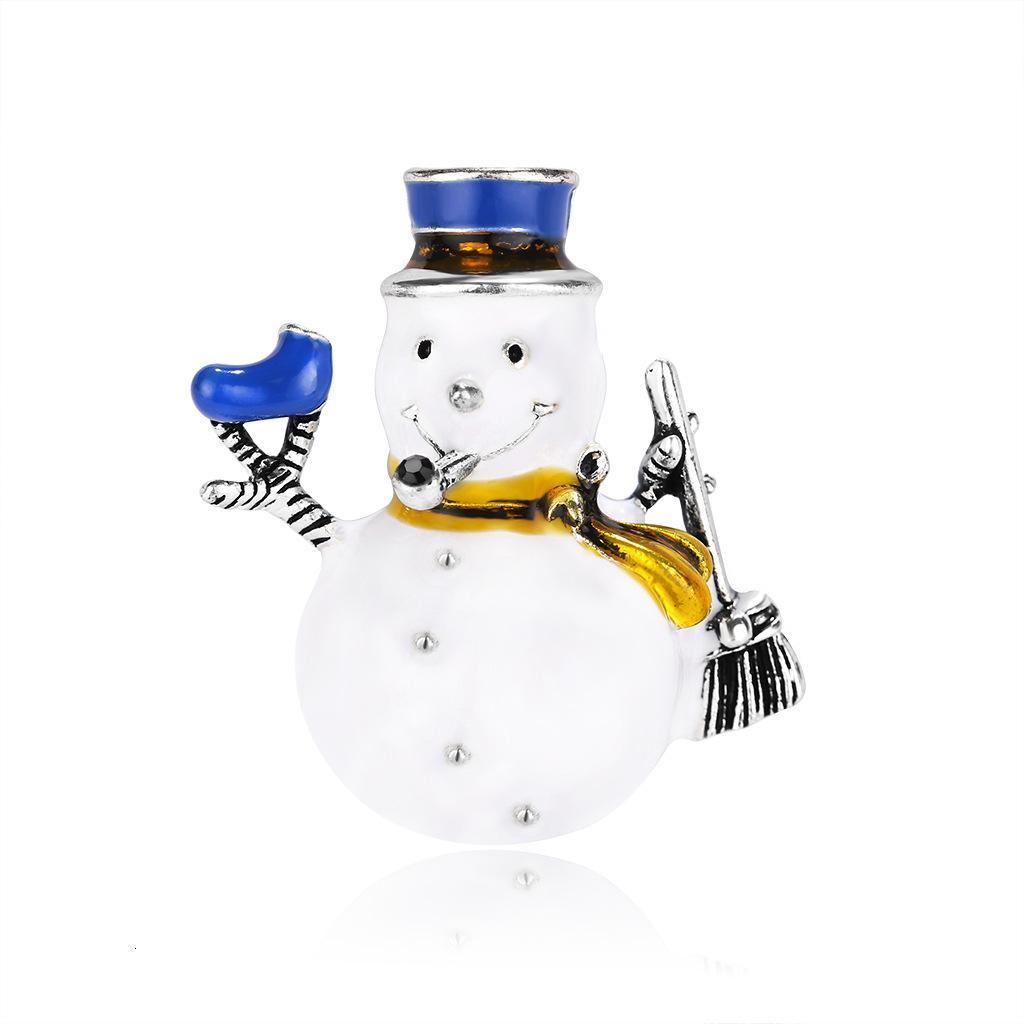 Concise Snowman Oil Painting Brooch Cartoon Lovely Christmas Series Accessories
