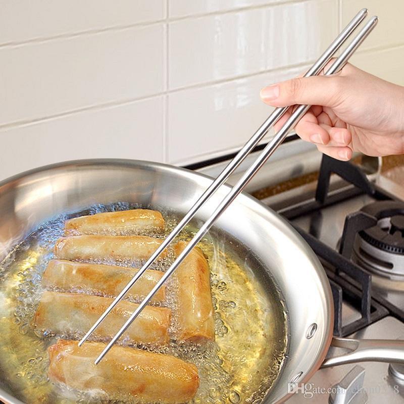 Aço inoxidável Aço inoxidável extra longas Chopsticks 36 centímetros Pot Chopsticks Hot Cozinhar fritando Noodle Chopsticks Acessórios de cozinha