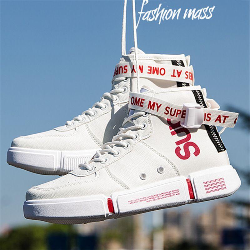 PU Casual Skate Sneakers Corée Ulzzang Chaussures -50% sur les chaussures robustes anti-dérapantes Hommes Faux Cuir Patineur Chaussures De Conseil De Mode