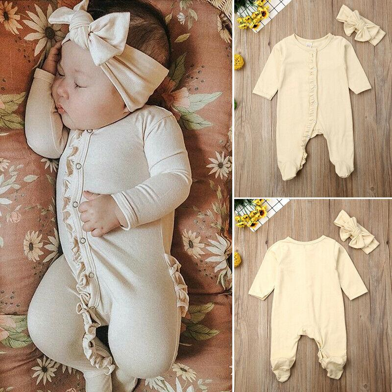 2PCS Newborn Baby Girl Boy Cotton Long Sleeve Button Ruffles Solid Color Romper Headband Pyjamas Outfits Clothes