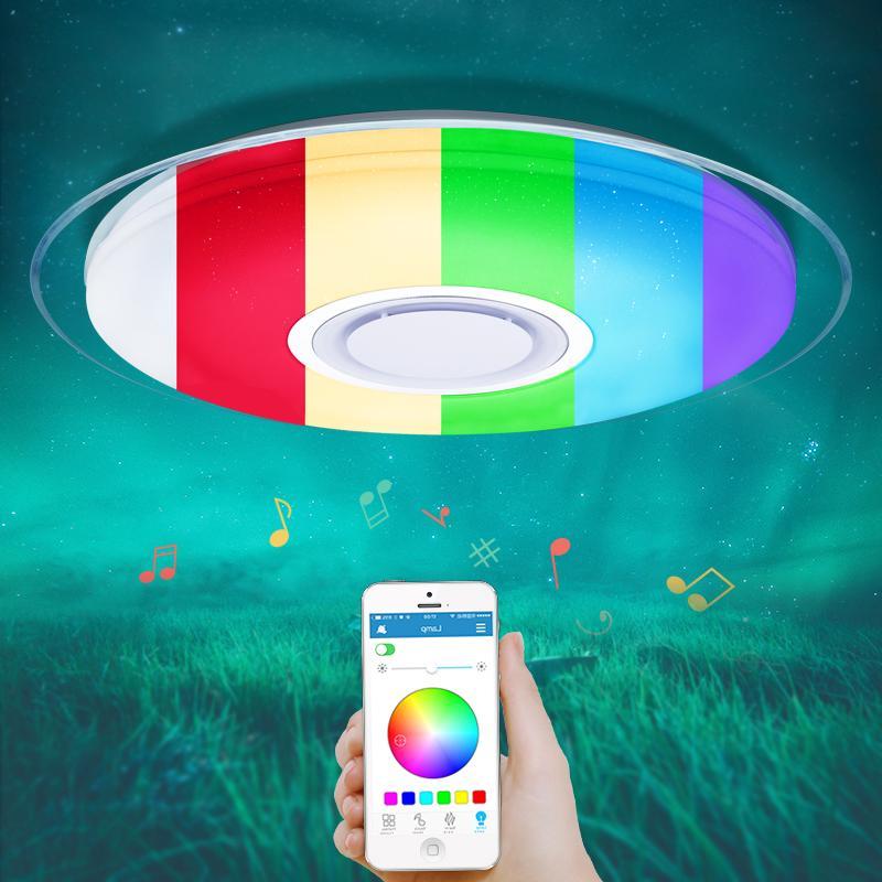 Modern LED tavan ışıkları RGB Dim 25W 36W 52W APP Uzaktan kumanda Bluetooth Müzik ışık fuaye yatak Akıllı tavan lambası