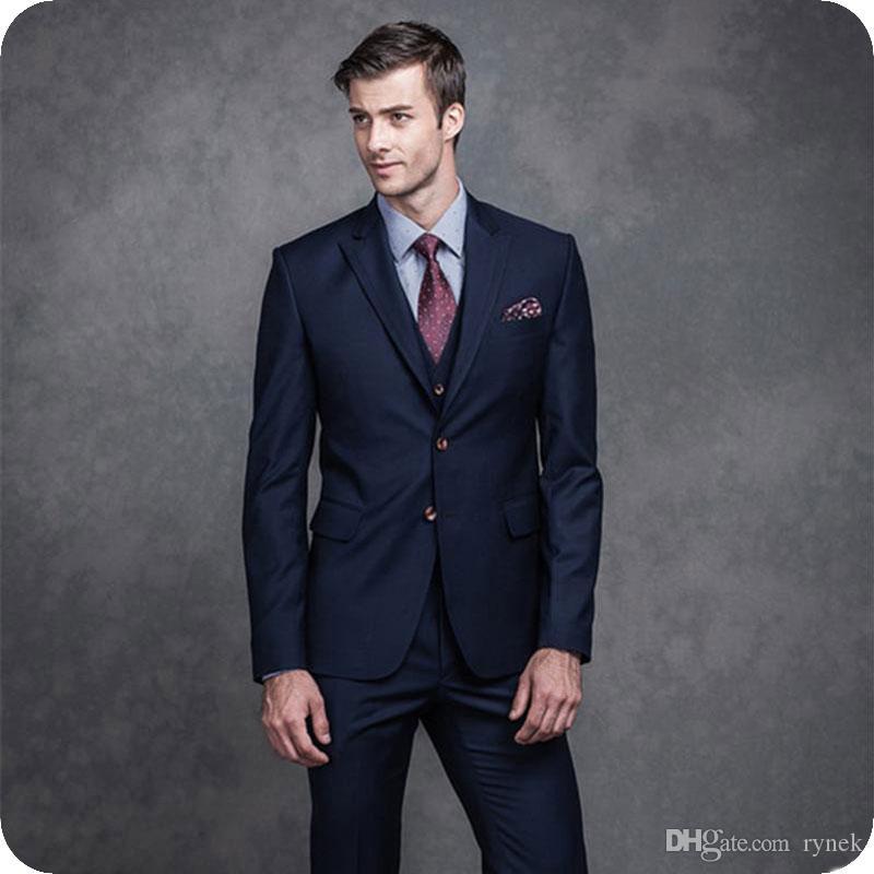 Latest Coat Pants Designs Navy Blue Men Suits for Business Peaked Lapel Suits Man Blazer Jacket 3Pieces Summer Beach Marriage Costume Homme