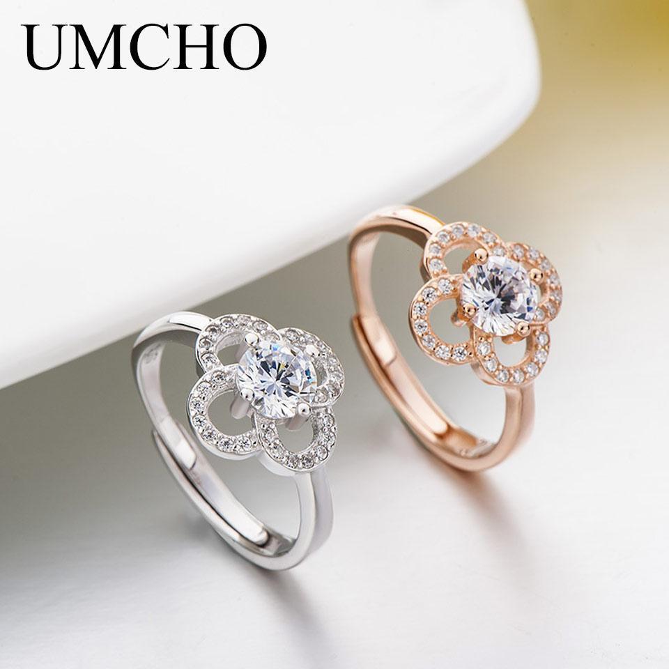 Romantico monili del fiore reale 925 anelli dell'argento sterlina del regalo di anniversario di nozze anello della fascia per le donne Belle
