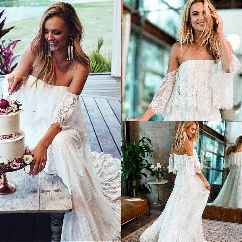 A Line Boho Wedding Dresses Lace Applqiue Sweep Train Off Shoulder Elegant Bohemian Wedding Gowns Backless Beach Bridal Dress 4381