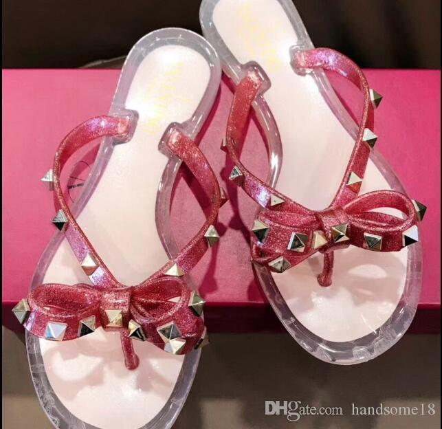 35-41 popular Summer Flip Flops Woman Rivets Women Sandals Bow knot Flat Slippers Girls Studded Cool Beach Slides Jelly Shoes