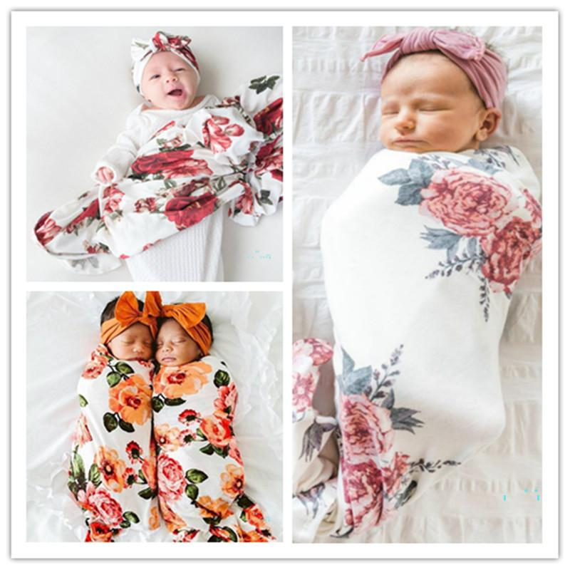 Baby Wrapping Cloth Infant Newborn Rabbit Ears Hat Set Floral Printing Wrapped Towels Blanket Wrap Hat Set Sleeping Bag CZ319